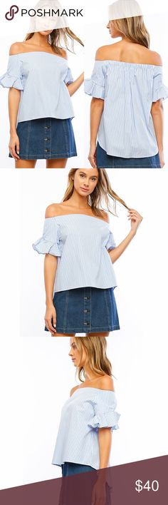 """Hi-Lo Soft Blue Striped Off the Shoulder Top ❤️ BUNDLES ❤️ DISCOUNTS ❌ NO TRADES ❌ NO Low balling!  • Light Weight • Hi-Lo  * MEASUREMENTS: • Small - Bust: 36.25"""" Approx (Around armpit) - Front Length: 21"""" Approx - Back Length: 25.5"""" Approx • • Medium - Bust: 38"""" Approx (Around armpit) - Front Length: 22"""" Approx - Back Length: 26"""" Approx • • Large - Bust: 41"""" Approx (Around armpit) - Front Length: 22.75"""" Approx - Back Length: 28"""" Approx  * MATERIAL: - 100% Cotton Tops Tees - Short Sleeve"""