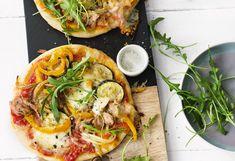 Thunfisch-Gemüse-Pizzette Pasta, Snacks, Vegetable Pizza, Billa, Vegetables, Food, Tuna, Food Portions, Food Food
