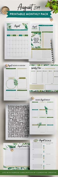 August 2019 printable monthly planner page kit. Includes a weekly planner, calendar, habit tracker, colouring page and more! Subscribe now to get a new monthly kit every month.