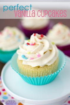 Perfect Vanilla Cupcakes - the best homemade ones I've ever had, and super vanilla-y! | crazyforcrust.com | #cupcake