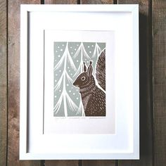 "Squirrel, Limited edition unframed Original Linocut print in 2 colours handmade by Alexandra Dvornikova. Linocut is a type of relief print. Relief printing is a technique where a piece of paper is ""stamped"" by the top surface of the plate painted in ink. A design is cut into the"