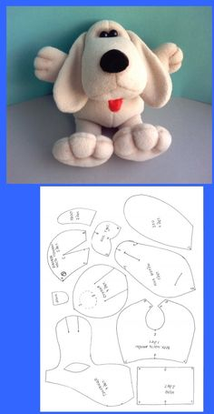 Cats Toys Ideas - Doudou chien - Ideal toys for small cats Sewing Stuffed Animals, Stuffed Animal Patterns, Sewing Crafts, Sewing Projects, Animal Sewing Patterns, Felt Patterns, Ideal Toys, Fabric Animals, Fabric Toys