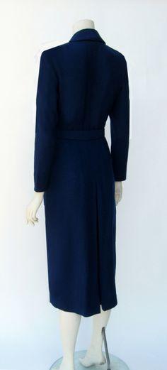 Vintage 1940s Dorothy O'Hara Navy Blue Wool Wiggle Dress - back