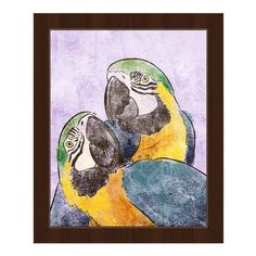 Click Wall Art 'Parrot Pals Lilac' Framed Painting Print
