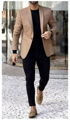 Mens Casual Dress Outfits, Mens Casual Suits, Blazer Outfits Men, Formal Men Outfit, Mens Fashion Blazer, Stylish Mens Outfits, Suit Fashion, Men Dress, Dress Shirt