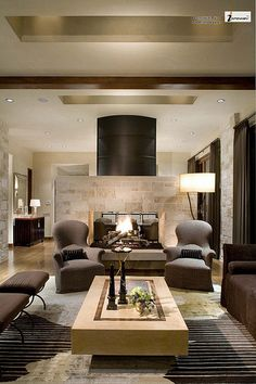 Contemporary Ranch House Remodel Warm Contemporary Living Room Interior Design with Indoor Fireplace   Check out this also: http://www.revstarglobal.com/simonedvin