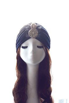Navy Blue Turban & Silver Crystal Rhinestones, Silk Satin, Ostrich Gray Feathers, boho chic hat, blue marine 20s eclectic turban hairpiece.  Shine like the stars and add that little extra spunk to your outfit with this Silver & Navy Blue Turban inspired on the sophisticated elegance of the 20's.  Carefully crafted, this precious piece includes a sparkling crystal rhinestones and Ostrich feathers with a washed effect in pale gray that make a fabulous contrast with the fabric background.