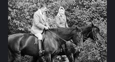 In this Tuesday, June 8, 1982 file photo, U.S. President Ronald Reagan, left, on Centennial, and Britain's Queen Elizabeth II, on Burmese, go horseback riding in the grounds of Windsor Castle, England. Britain's Queen Elizabeth celebrates her 90th birthday on Thursday, April 21, 2016. (AP Photo/Bob Daugherty, file)