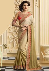Beige Faux Chiffon Jacquard Saree with Blouse