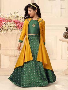 Shop Green color silk fabric jecket style lehenga choli online from India. Baby Girl Lehenga, Lehenga For Girls, Kids Lehenga Choli, Chaniya Choli For Kids, Indian Dresses For Kids, Indian Fashion Dresses, Dress Indian Style, Indian Gowns, Skirt Fashion