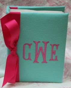 photo album with embroidered initials