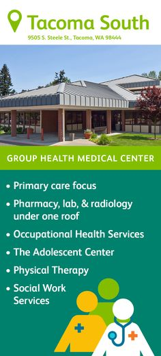 Find services (including an adolescent center), phone numbers, and operating hours for Kaiser Permanente's Tacoma South Medical Center in Tacoma, Washington. Group Health, Medical Design, Smoothie Cleanse, Primary Care, Radiology, Diet Motivation, Medical Center, Physical Therapy, Social Work