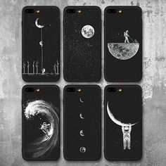 Newest Space Moon Astronaut Phone Cases For iphone 7 8 X Case For iphone 6 XR XS Max Planet Star Frosted Soft Back Cover(China) Cute Phone Cases, Diy Phone Case, Iphone Phone Cases, Iphone 5s, Apple Iphone, Iphone Ringtone, Cute Cases, Phone Covers, Apollo Box