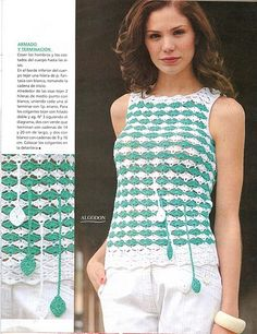 Crochetemoda: Crochet - Blusa Verde e Branca