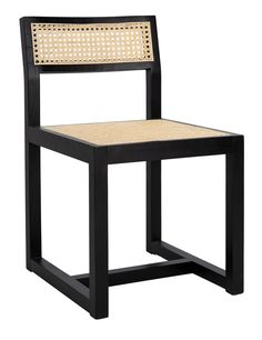 Safavieh Furniture - This deluxe contemporary cane dining chair brings the art of minimalism to the dining room with its clean lines and fine craftsmanship. A blend of Japanese and Scandinavian style, its black elm wood a. Transitional Dining Chairs, Solid Wood Dining Chairs, Wood Dust, All Modern, Modern Classic, Wood Colors, Side Chairs, Natural Wood, Outdoor Chairs