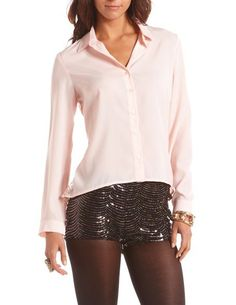 Lace-Back Hi-Low Crepe Blouse: Charlotte Russe