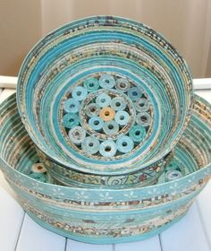 Recycled Coiled Paper Basket Bowl Handmade by BlueTangDesigns