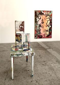 Chair and Table painted by Urs Frei – Robert A. Wettstein