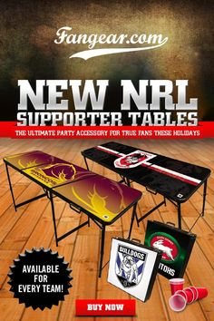 New merch table design ideas for sports fans. NRL and AFL.