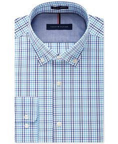 Tommy Hilfiger Men's Slim-Fit Non-Iron Aqua Multi-Check Dress Shirt - Dress Shirts - Men - Macy's