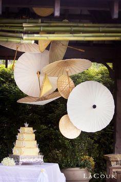 Parasol wedding decor over food table