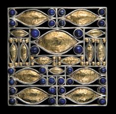 """Josef Hoffmann modern reproduction brooch by the Neue Gallerie, New York. """"Masterpiece Brooch"""" with gold and lapis lazuli. based on a 1907 design. Retails at $8,300 - for a reproduction!"""