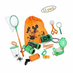 H Harlerbo Outdoor Adventure Set for Kids Explorer Kit Educational Toys Binoculars Flashlight Compass Magnifying Glass Butterfly Net Tweezers Bug Viewer Whistle Gift Set for Camping Hiking Backyard Outdoor Activities For Toddlers, Outdoor Toys For Kids, Infant Activities, Outdoor Play, Glass Butterfly, Butterfly Net, Camping Toys, Backyard Toys, Kids Toys For Boys