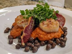 My Southern (US) twist on a traditional Spanish dish from Catalonia. Seared Scallops, Crispy Country Ham, Crowder Peas with Roasted Romesco Sauce. Follow the link for all the #recipes. Traditional Spanish Dishes, Roasted Heirloom Tomatoes, Country Ham, Seared Scallops, Great Recipes, Spinach, Pork, Southern, Meals
