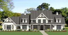 Modern-farmhouse House Plan - 6 Bedrooms, 5 Bath, 4991 Sq Ft Plan 90-169 6 Bedroom House Plans, Garage House Plans, Dream House Plans, Car Garage, Modern Farmhouse Style, Texas Farmhouse, Farmhouse Floor Plans, Monster House Plans, House Layouts