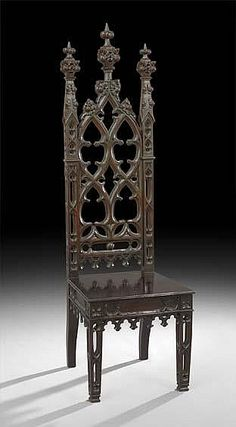 ~ American Gothic Revival Oak Hall Chair ~