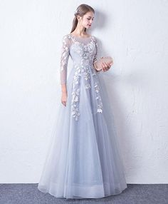 Chic / Beautiful Silver See-through Evening Dresses 2018 A-Line / Princess Scoop Neck Long Sleeve Appliques Lace Floor-Length / Long Ruffle Backless Formal Dresses Grad Dresses, Trendy Dresses, Tight Dresses, Simple Dresses, Beautiful Dresses, Dress Outfits, Fashion Dresses, Dresses With Sleeves, Cute Dresses