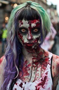 It's good to be subtle with you zombie makeup at times Joker Halloween Makeup, Zombie Makeup, Scary Makeup, Theme Halloween, Halloween Horror, Halloween Costumes, Zombie Costumes, Halloween Zombie, Awesome Makeup