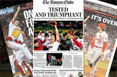 After clinching the World Series at home last night, the Red Sox dominated front pages of newspapers and sites across the country today.
