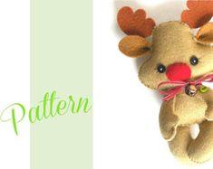 Reindeer Christmas PDF Ornament pattern-Felt Christmas Ornament pattern-Rudolph ornament-Reindeer-DIY-Stocking stuffer-Felt ornament-Winter