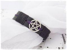 Leather Men's Bracelet Hexagram Pentacle by ChrisOsCreations
