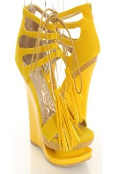 Yellow Faux Suede Patent Lace Up Tie Tassel Stack Platform Wedges