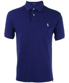 Polo Ralph Lauren Logo-embroidered Knitted Polo Shirt In Newport Navy Mens Polo T Shirts, Blue Polo Shirts, Collar Shirts, Men's Polos, Men's Shirts, Black Shirts, Ralph Lauren Shop, Ralph Lauren Mens Shirts, Ralph Lauren Custom Fit