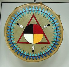Authentic Native American Lakota Ceremonial Four Colors Drum by David Hoff-Grindstone