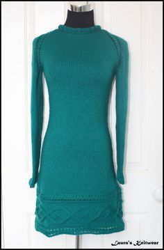 Handknitted Cable Knit Sweater Dress/Tunic Teal by LaurasKnitwear