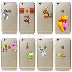 Fundas Đối Với Apple iphone 6 6 s trường hợp Transparent Tay nắm Tom mèo SpongeBob Fundas Cho iPhone 6 điện thoại di động logo trường hợp bìa