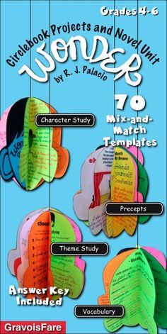 Wonder by R.J. Palacio: Circlebook Projects and Novel Unit by GravoisFare. Hands-on projects for the creative classrooms. 70 mix-and-match templates allow you to customize and individualize your novel study. Choose from the templates for differentiated le