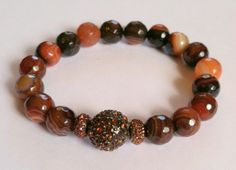 Gemstone bracelet Dream Agate Gemstone and Copper Pave Ball by KiKiJabriJewels, $18.00