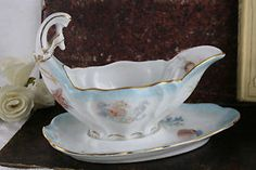 ntique 1900 Tielsch Porcelain marked Sauce boat shell fish rare hand paint