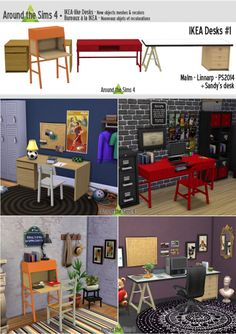 IKEA-like Desks by Sandy at Around the Sims 4 via Sims 4 Updates