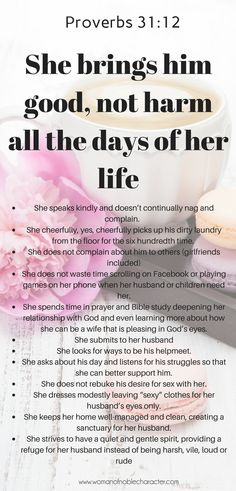 Proverbs 31 Woman Discover Proverbs - Do You Bring Him Good Not Harm? A closer look at Proverbs What is the Bible telling us? Do you bring your husband good not harm all the days of your life? Biblical Marriage, Biblical Womanhood, Marriage Advice, Love And Marriage, Happy Marriage, Marriage Quotes From The Bible, Scripture On Marriage, Marriage Goals, Godly Wife