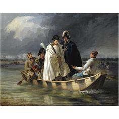 Napoleon quitte l'ile Lobau après la bataille d'Aspern-Essling par Anton Ritter von Perger