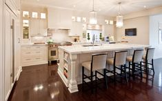 M House: Bright white kitchen design with greige walls paint color, white shaker kitchen cabinets . Home Kitchens, Kitchen Backsplash Designs, Contemporary Kitchen, Kitchen Remodel, Kitchen Design, Kitchen Decor, White Kitchen Design, New Kitchen, Stools For Kitchen Island