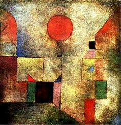 Paul Klee, Red Balloon, 1922 Straight lines create squares and rectangles of different colors coming from the left and the right. A bright red balloon is centered attached to a blue triangle also in the middle. The whole piece looks as if a black sponge was dabbed over it.