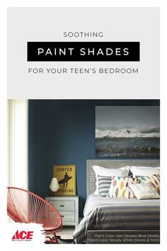 Create a calming color palette for your teen's sleep space with Benjamin Moore paint. Color Wallpaper Iphone, Colorful Wallpaper, Modern Color Schemes, Modern Colors, Painting Studio, House Painting, Cool Paintings, Bedroom Paintings, Van Deusen Blue