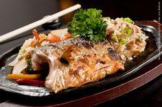 Hideki Sushi (jantar)    Risoto de cogumelo Shimeji acompanhado de Teppan de Peixe